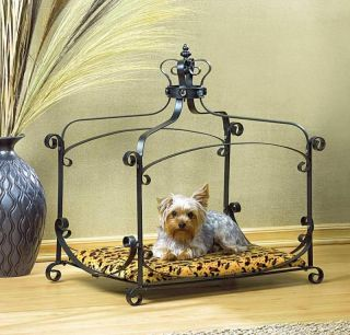 Wrought Iron Animal Print Royal Crown Pet Bed Dog Cat