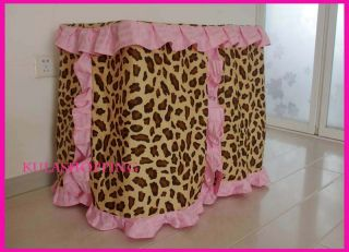 Princess Pet Dog Cat Handmade Bed House Leopard Print with Pink Frill