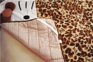 Hello Kitty Brown Leopard 3D Plush Blanket Comforter Quilt Girl Twin Bed Cover