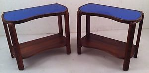 Pair Vtg Antique Art Deco Cobalt Blue Mirror Glass Top Hall Stand End Side Table