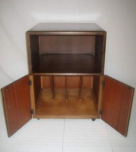Antique Walnut Art Deco Record Album Music Cabinet End Table Night Stand Remploy
