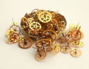 Gold Star Gear Wheel Lot Vtg Watch Part Steampunk Altered Art Jewelry Supply