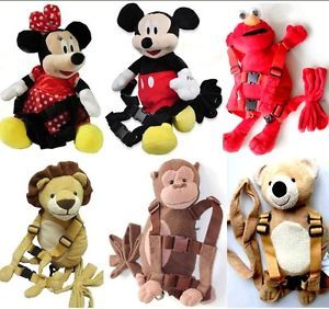 Mickey Minnie Baby Toddler Kid Safety Harness Animal Backpack Walking Strap Rein