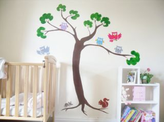 Nursery Stencils Owls Woodland Animals Wall Decor Kids Bedroom Art Decoration