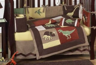 Luxury Unique Discount Designer Dinosaur Chocolate 9pc Baby Boy Crib Bedding Set