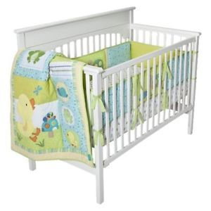 "Tiddliwinks""in The Pond"" 3 Piece Baby Bedding Set in Yellow Green"
