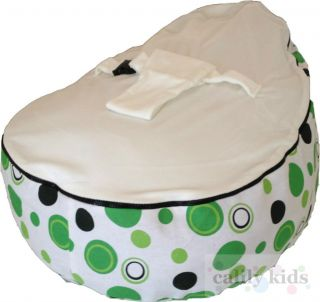 Baby Toddler Kids Portable Bean Bag Seat Snuggle Bed Green Dot White