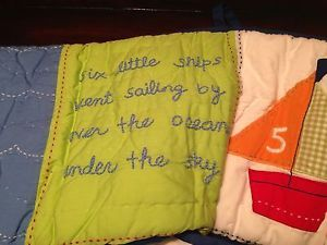 Pottery Barn Kids Baby Boats Sailboat Nautical Crib Bumper Sheet Bed Skirt