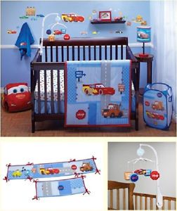 Disney Cars 9pc Baby Boy Nursery Crib Cot Bedding Set w Bumpers Musical Mobile