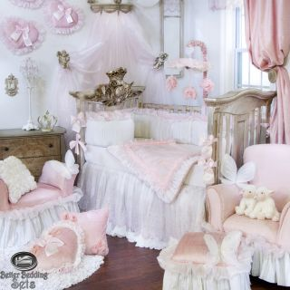 Baby Girl Pink White Boutique Designer Quilt Crib Nursery Newborn Bedding Set