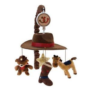 Brown Bears Horses Cowboy Western Themed Baby Boy Nursery Crib Musical Mobile