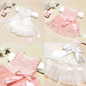 Baby Girl Kids Princess Party Lace Bow Christmas Formal Dress Clothes Newborn 2T