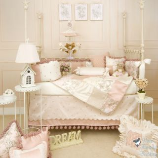 Glenna Jean Baby Girl Pink French Toile Luxury Crib Nursery Bedding Quilt Set