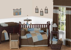 Sweet JoJo Designs Discount Plaid Blue Brown Baby Boy Crib Bedding Comforter Set