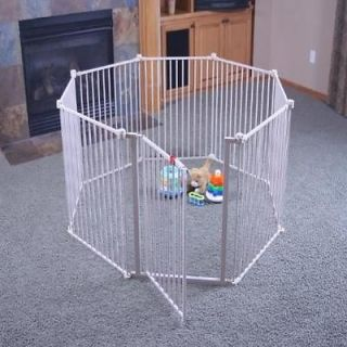 Regalo 4 In 1 Metal Play Yard White Security Safety Gate Baby Infant Toddler Pet