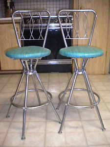 2 Vintage 1950's Mid Century Art Deco Chrome Swivel Bar Stools Neat