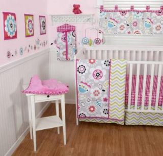 Sumersault Chelsea 10pc Baby Girl Crib Bedding Set Floral Pink Lime Grey New