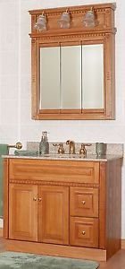 "Newport Oak 36"" Bathroom Vanity RH Drawers w Medicine Cabinet Mirror 3 Light"