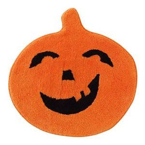 Halloween Pumpkin Bath Rug Round Orange Bathroom Mat Holiday Decor Seasonal