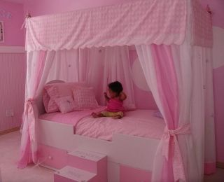 Toile Princess Canopy Bed Full Twin Bedding Girls Bed