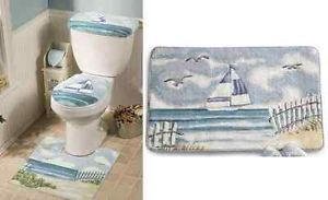 Four Pieces Lighthouse Decor Bath Mat Rug Set Nautical Blue Decor Seaside Decor