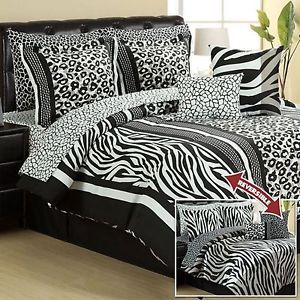 Zebra Leopard Animal 10pc Reverse California Cal King Comforter Set Bed in A Bag