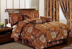 11 PC Comforter Curtain Set Brown Animal Zebra Giraffe Queen Size Bed in A Bag