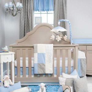 Blue and Gray Baby Boy Girl Neutral 3pc Moon and Star Themed Nursery Bedding Set
