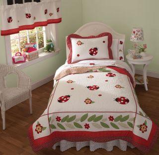 Red Bug White Polka Dot Ladybug Girl Twin Bed in A Bag