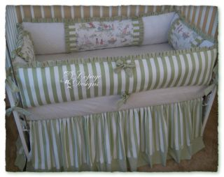 Over The Moon Toile Green Stripe Baby Crib Bedding Set