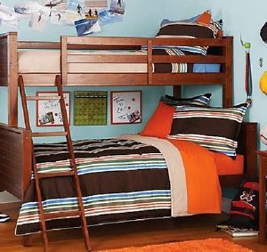 Twin Over Full Loft Bunk Bed Children Kids Girls Boys Bedroom Furniture Walnut