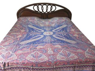 Blue Cashmere Wool Warm Bedspread Bed Cover Reversible Blanket Indian Bedding