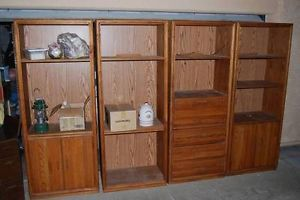 4 Solid Oak Bookcases Shelves Cabinet Drawers Combo Heavy Duty Sturdy Lighted