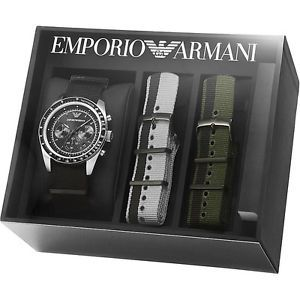 Emporio Armani Men's 3 Canvas Strap Box Set Chronograph Watch AR6109