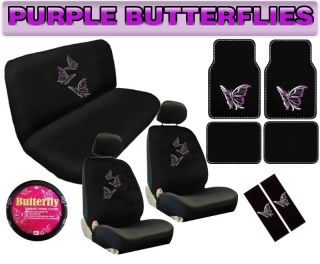 Purple Butterfly 15pc Universal Car Seat Covers Bench Floor Mats Interior Set