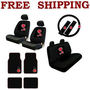 New 17pcs Set Red Ladybug Car Front Rear Seat Covers Carpet Floor Mats