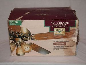 "New 52"" Grand Manor 5 Blade Reversible Ceiling Fan with Light Kit Model C552"
