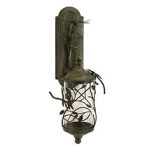 Dragonfly Verdigris Wrought Iron Wall Sconce Garden Lantern Candle Holder