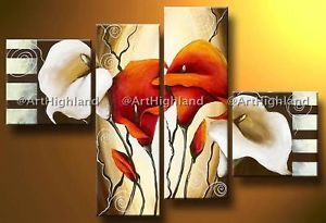 Original Abstract Oil Painting Paintings Canvas Wall Art Decor Set Calla Lilies