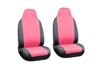 2pc Set Pink Black Faux Leather Integrated High Back Front Bucket Car Seat Cover
