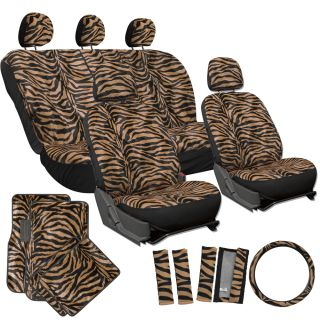21pc Orange Zebra Print Car Seat Covers Full Set Floor Mats Wheel Belt Pad Head