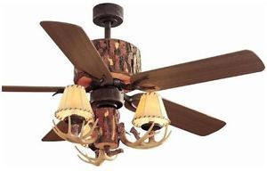 "Hampton Bay Lodge 52"" Ceiling Fan with Deer Antler Light Kit Remote Control"