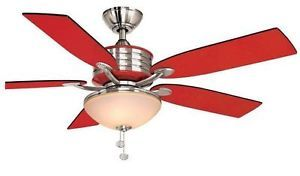 Hampton Bay Santa Cruz 52 inch Modern Ceiling Fan with Light Kit Red and Nickel