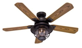 "Hunter 52"" Rustic New Bronze Indoor Outdoor Damp Rated Ceiling Fan with Light"