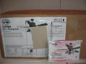 "New Hampton Bay Lodge 52"" Ceiling Fan with Deer Antler Light Kit Remote Contr"