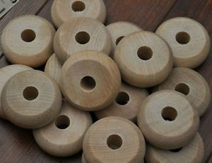"200 Wooden Toy Car Wheels 1 3 4"" Bulk Lot Wood Craft Projects Supplies Pieces"