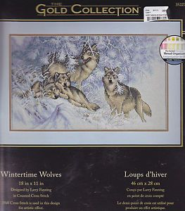 Gold Collection Wintertime Wolves Wolf Cross Stitch Kit Dimensions Larry Fanning