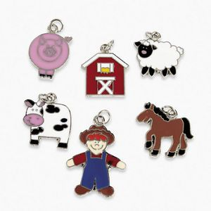 18 Enamel Farm Charms Pig Cow Horse Barn Farmer Sheep Jewelry Craft Supplies