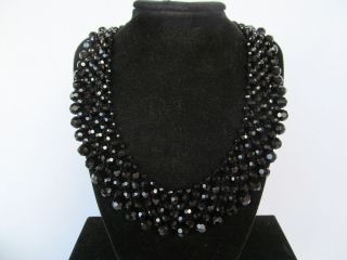 "Signed Yosca Faceted Jet Black 'Collar' Crystal Glass Rhinestone 20"" Necklace"