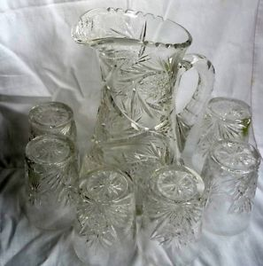 Stunning Antique American Brilliant Cut Glass Crystal Pitcher 6 Glasses